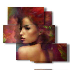 quadro moderno rosso con donna incantevole