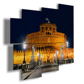 paintings with Rome and Castel Sant'Angelo at night