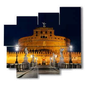 Modern paintings with Rome and Castel Sant'Angelo di notte