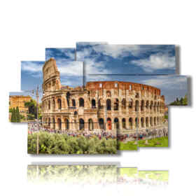 Modern picture with Colosseum by day