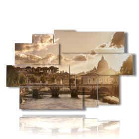 quadri su tela Roma al tramonto