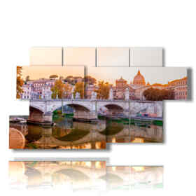 Modern picture with sunset photos in Rome