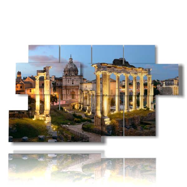 cuadro con fotos de Roma en la noche