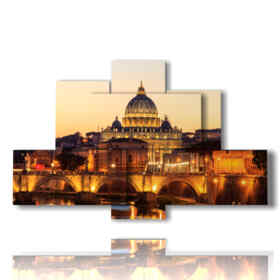 Modern picture with photos of Rome in the evening