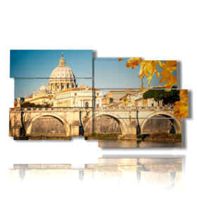 Modern painting with autumn images in Rome