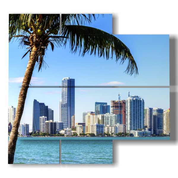 panneau avec des tableaux de la plage Miami