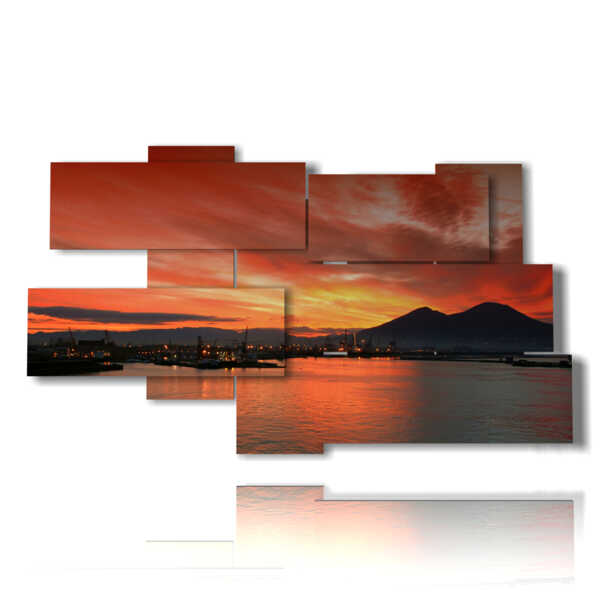 picture with photos sunset in Naples
