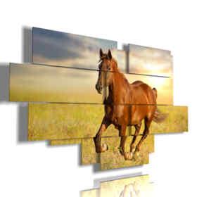 quadri raffiguranti cavalli in corsa al tramonto
