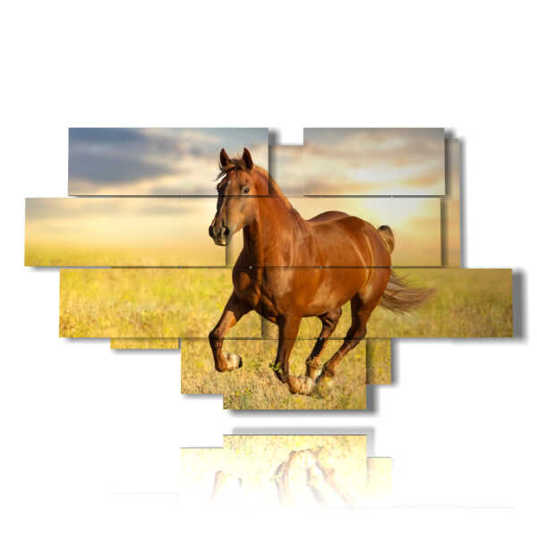 Modern paintings depicting horses running at sunset