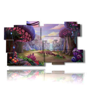 paintings with images of fantasy with mushrooms