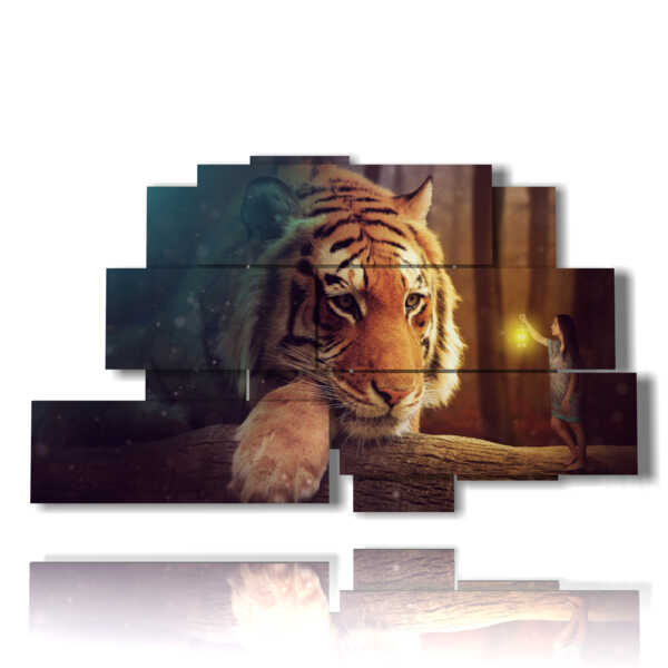 quadro con immagini fantasy donne e tigre