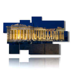 picture with photos of The Athens Parthenon night