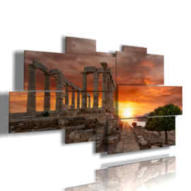 picture with photos of ancient Athens at sunset