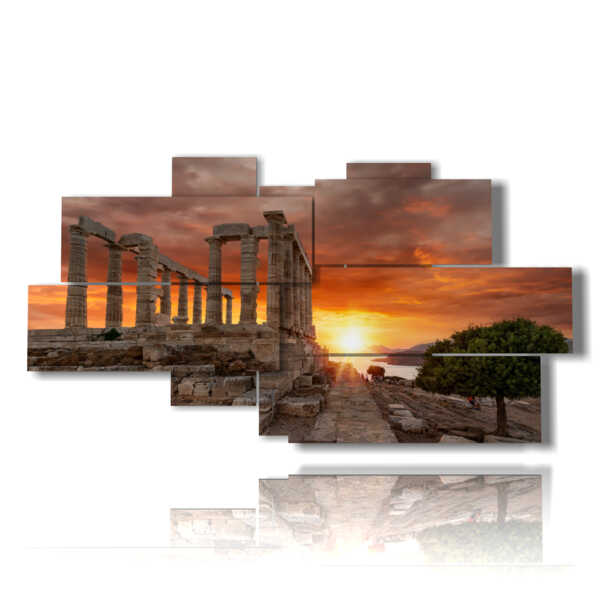 cuadro con fotografías de la antigua Atenas al atardecer
