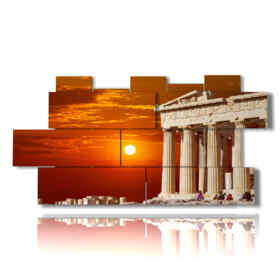 picture with photos of Athens Greece at sunset