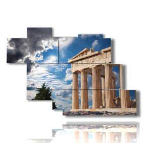 modern painting Athens - Parthenon Temple 01
