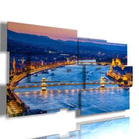 cuadro con imágenes panorámicas de Budapest en la noche