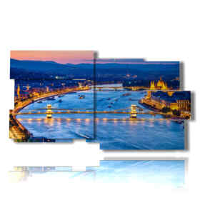 painting with panoramic pictures of Budapest at night