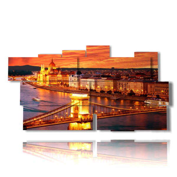 picture with photos of Budapest city illuminated at sunset