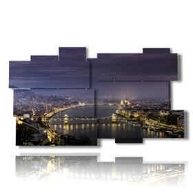 tableaux panoramiques de Budapest à l'image de nuit