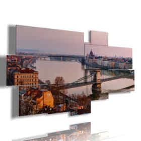 cuadros con la foto del puente de cadena de Budapest