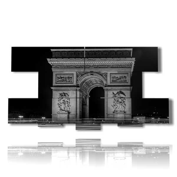 Place Paris Arc de Triomphe en noir et blanc