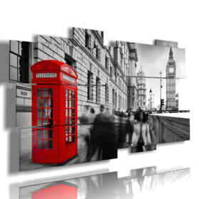 London photo painting with red cabin
