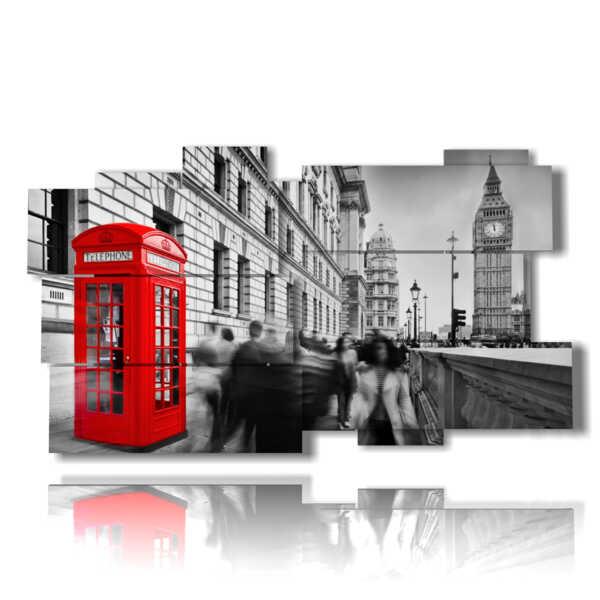 cuadro de la foto de Londres con la cabina de color rojo