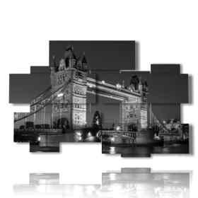 cuadro con fotos de Londres blanco y negro