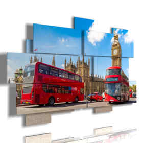 picture with photos of day London bus