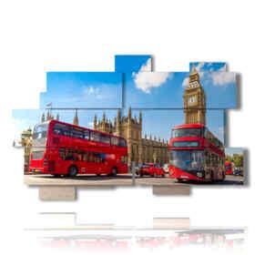 cuadros con las fotos del día de autobús de Londres