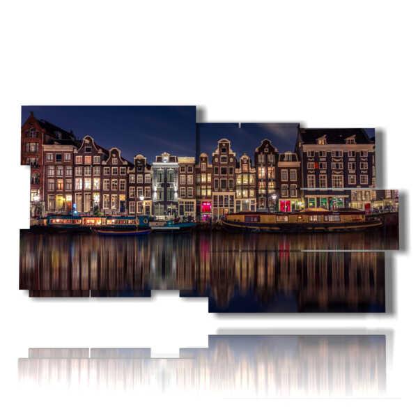 tableaux avec des tableaux éclairé la nuit à Amsterdam