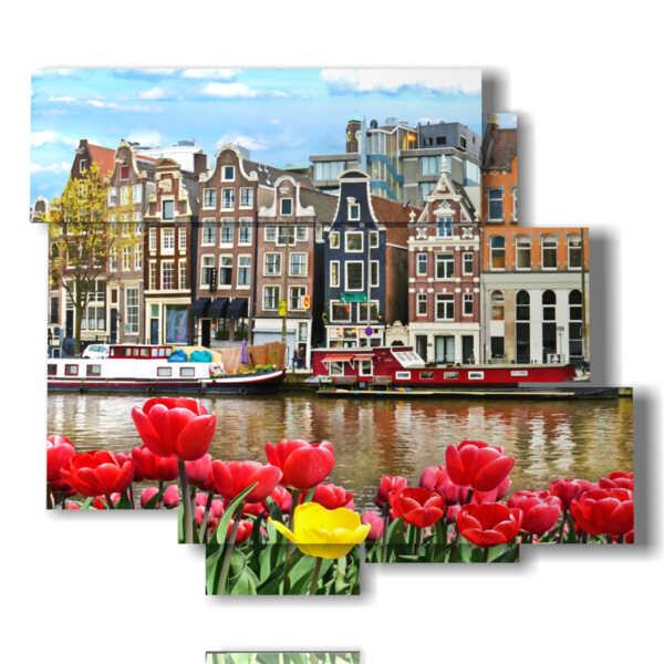 cuadro con fotos Amsterdam hoy en día con los tulipanes