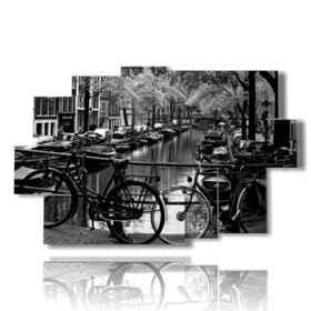 ville Amsterdam tableaux photo en noir et blanc