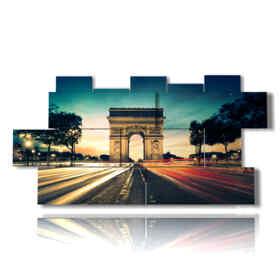 picture with photos of Paris Arc de Triomphe magical lights