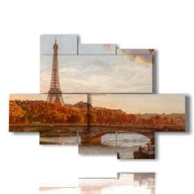 Platten mit beleuchtetem Paris im Herbst