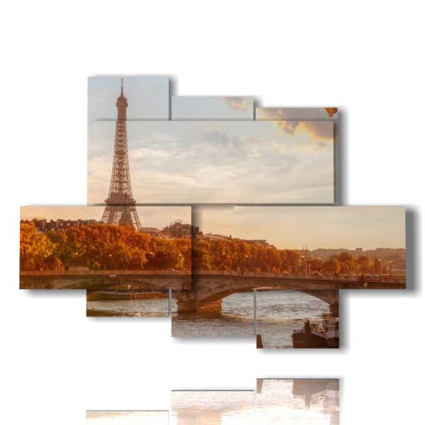 panels with illuminated Paris in autumn