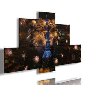 quadri con foto Parigi notte e fuochi d'artificio