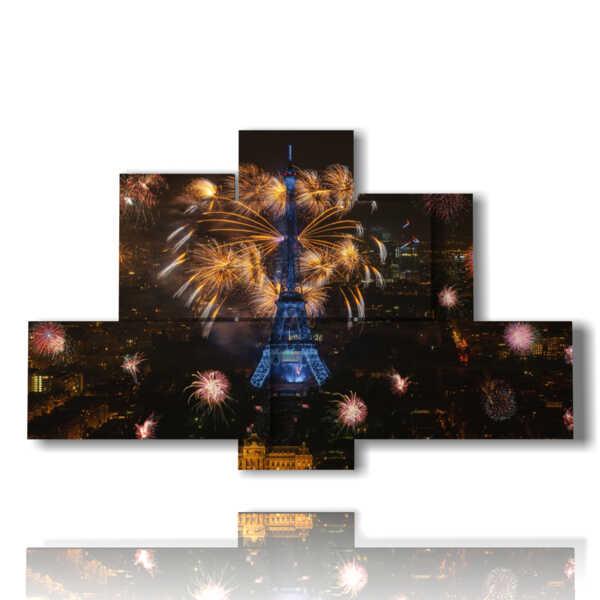 cuadros con fotos de París la noche y fuegos artificiales