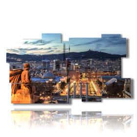 quadri con immagini Barcellona di notte