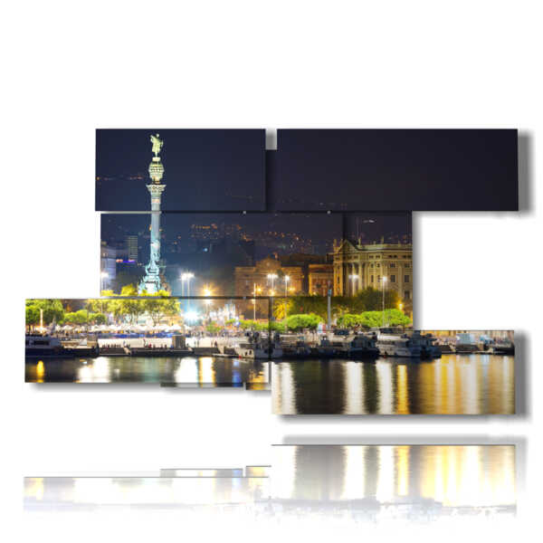cuadro con fotos de Barcelona, ??iluminado por la noche panorámica