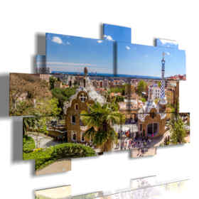 painting with pictures Barcelona Gaudi Park today day