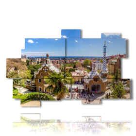quadro con foto Barcellona oggi Gaudi Park di giorno