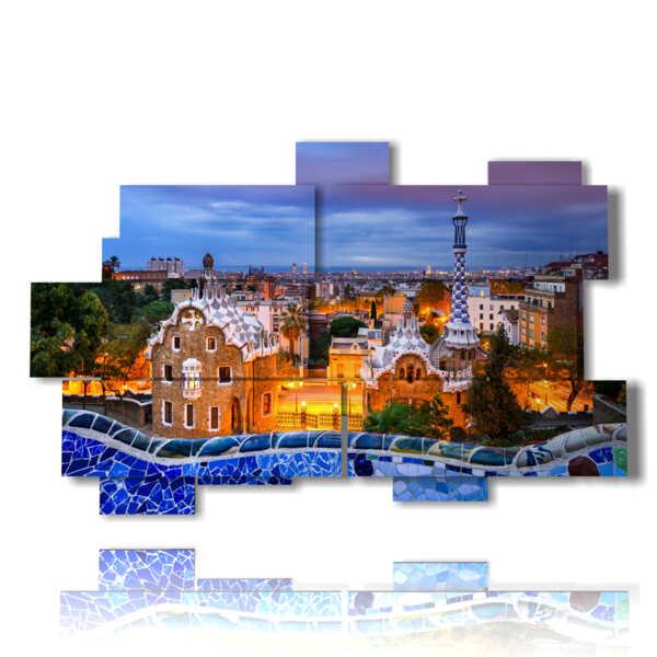 cuadros con mosaico de fotos de Barcelona Gaudí Parque tarde