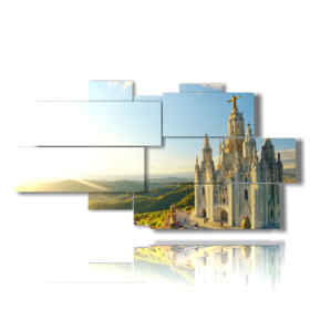 painting with pictures from Barcelona Temple Sacred Heart of Jesus