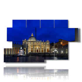 Rome in modern paintings at night