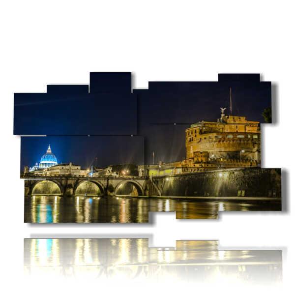 quadri di Roma illuminata di notte