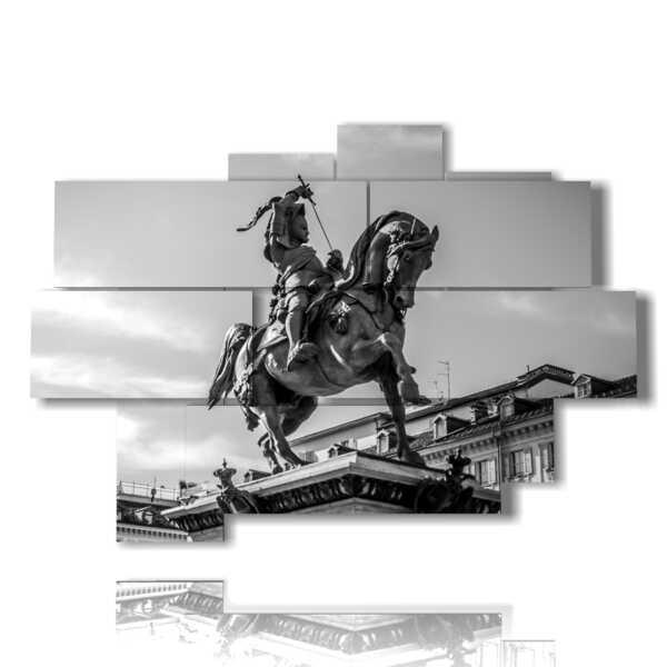 Torino cuadros de carteles de Emanuele Filiberto de Saboya estatua