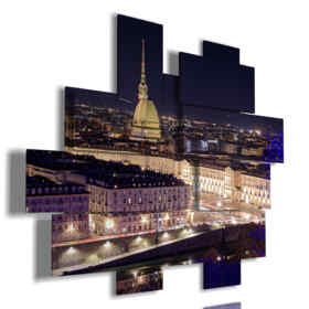 paintings with photos of Turin top view illuminated at night