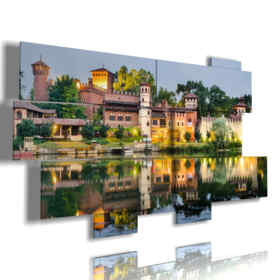 modern paintings in Turin mirrored in the water